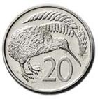 NZ 20 cent coin
